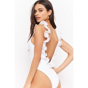 Ruffle Trim One-Piece White Swimsuit